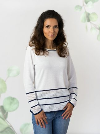 Baumwolle-strickmodelle-damenpullover-Sommerkollektion white-blue fancy knitted sweater with ajour element, summer cotton collection