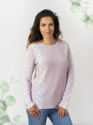 Pullover-in-ajour-strick-damenpullover-strickmode lavender colour cotton summer sweater