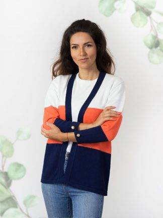Sommerkollektion-Strickjacken-Baumwolle summer cardigan in coral, white and blue cotton yarn