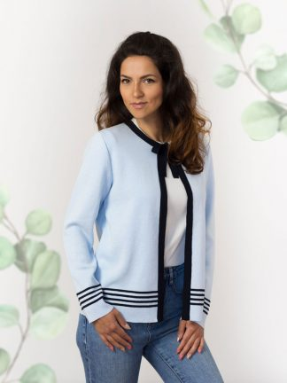 Strickjacken-Sommerkollektion damenmode light blue cotton cardigan with fancy kniting element