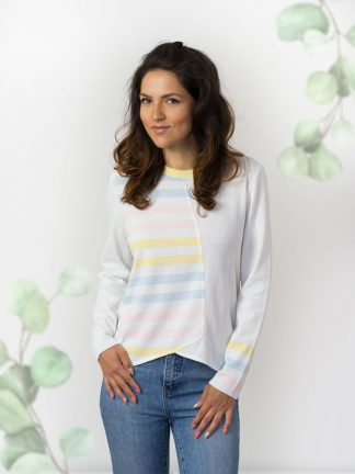 damenmode–Baumwolle-damenpullover colourful summer knitwear from cotton yarn in light colours fancy kniting
