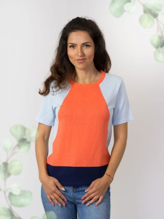 intarsia-fancy-knitting-Sommerpullover-Sommerkollektion colourful cotton sweater summer collection 2020
