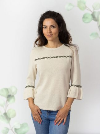 nature-colour-cotton-sweater-with-knit-application-Sommerpullover