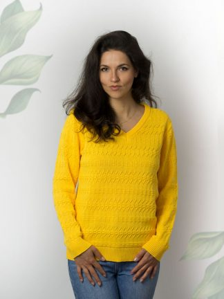 Bright yellow cotton sweater with cabel knit Sommer Strickpullover cable knit