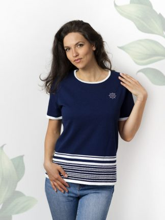 fancy knitting yacht fashion sweater cotton and rhinestones, blue and white yarn combination for perfect summer vibes