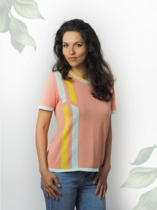 summer cotton sweater intarsia-fancy-knitting-with-colourful lines  Baumwolle-strickmode-sommer