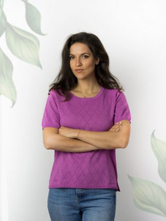 purple twinset shirt perfect for summer cotton yarn and fancy knitting