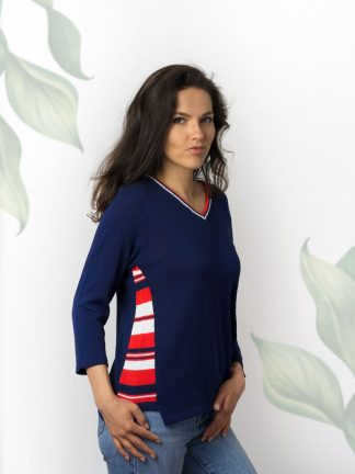 Dark blue cotton summer sweater with colourful stripe element fancy knitting cotton pullover