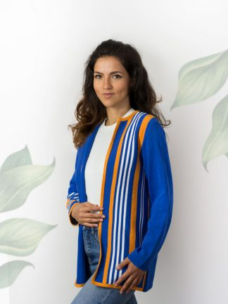 striped summer cardigan with fancy knitting design