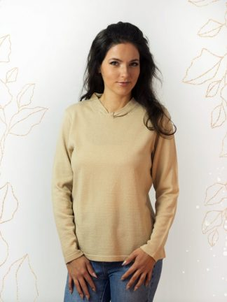 Natural colour, warm winter sweater with fancy element