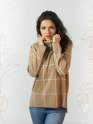 geometric jacquard sweater for cold winter days